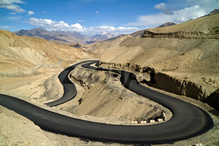 The new winding road in the Himalayas mountains