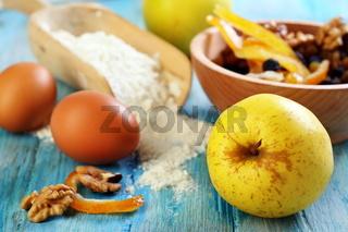 Ingredients for making apple pie.