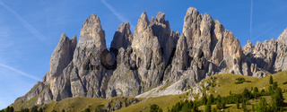 panorama landscape with mountain peak named Geisler at italian alps dolomites