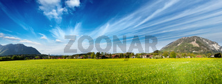 Panorama of German countryside and village. Bavaria
