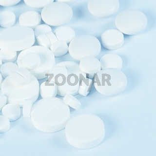 Tablets close up. A medical background
