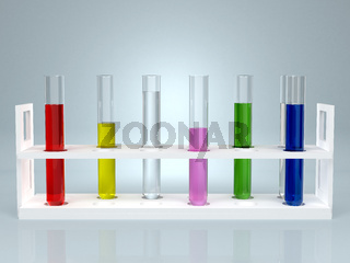 Test-tube with color liquid . Computer generated