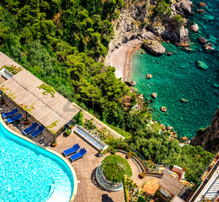 View of luxury villa and Mediterranean sea, Via Nastro Azzurro. Amalfi Coast