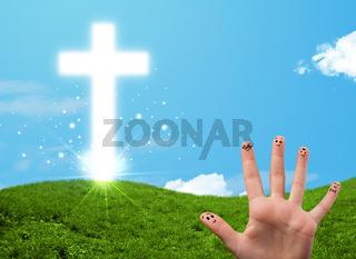 Happy finger smileys with christian religion cross
