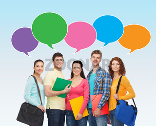 group of smiling students with text bubbles