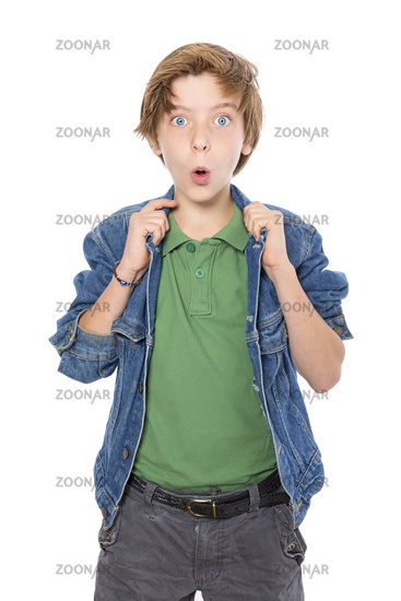 amazed teenage boy with hands on his jacked collar, isolated on white