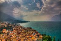 Malcesine bei Gewitter, Italien