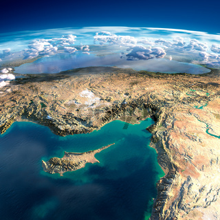 Fragments of the planet Earth. Cyprus, Syria and Turkey