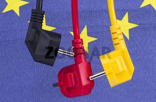 Stromkabel schwarz rot gelb