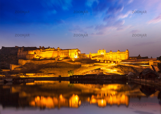 Amer Fort at night in twilight. Jaipur, Rajastan,