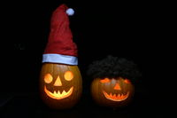 Halloween Kürbis Weihnachtsmann