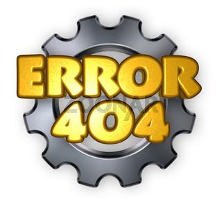 fehlermeldung 404 und zahnrad - 3d illustration