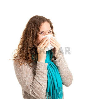 Young woman snorts