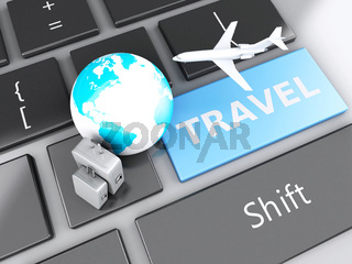 suitcase, airplane and earth on computer keyboard. Travel concept