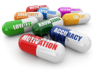 Skills for success. Pills with a list of positive qualities for employment