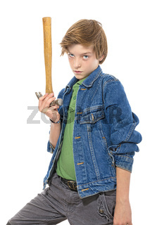 confident teenage boy holding the head of a hammer in one hand, isolated on white