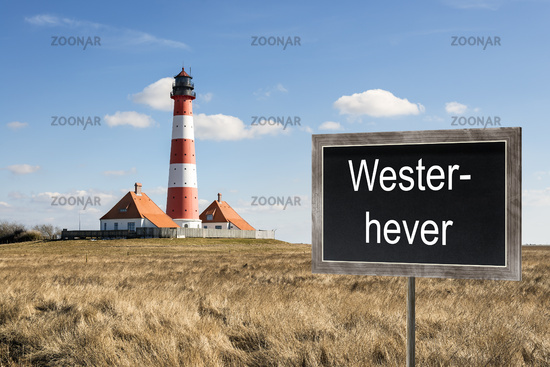 Lighthouse Westerhever with chalkboard