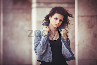 Girl with a denim jacket.
