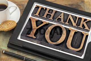thank you on digital tablet