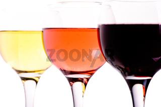 Three different wine glasses