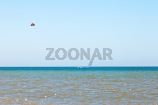 Parasailing over water Sea of Azov