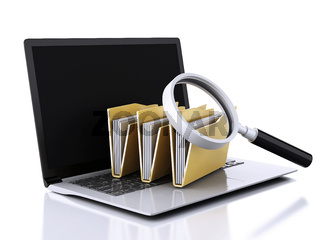 3d laptop, magnifying glass and computer files