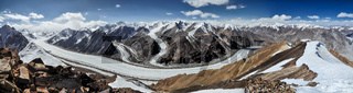 Scenic panorama of Fedchenko glacier in Pamir mountains in Tajikistan