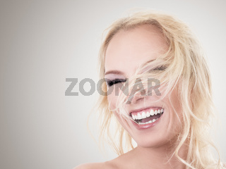 Happy blonde woman