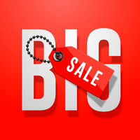 Big sale red poster with price tag, vector Eps10 i