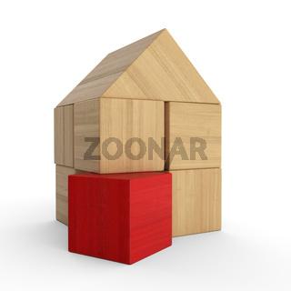 Holzhaus Baustein Konzept - Rot 2