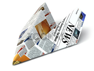 Extra news concept. Newspaper as paper airplane.