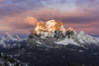 Mount Pelmo during sunrise in winter
