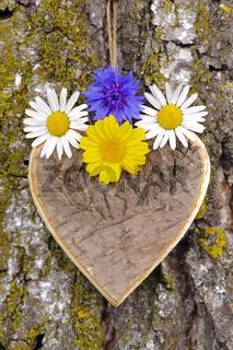 Herz aus Holz am Baum