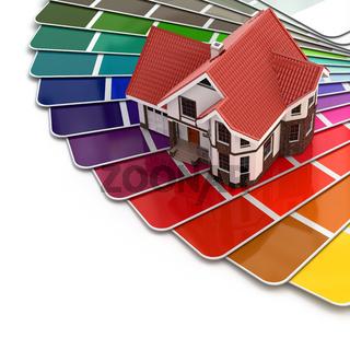 Construction concept. House and color palette.