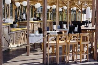 Wooden street cafe
