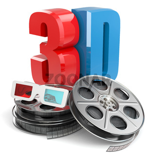 3D movie concept. Film reel and glasses.
