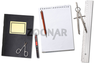 collection of office tools for sketching and construction, isolated on white