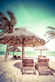 Amazing tropical beach with palm trees, chairs and umbrella on sand. Travel nature landscape in vintage style. Vietnam