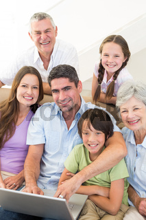 Loving multigeneration family spending leisure time