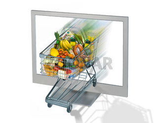 Einkaufswagen und Monitor