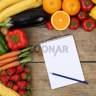 Einkaufszettel für den Einkauf von Früchte, Obst und Gemüse