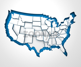 USA paper map with individual states, 3d render