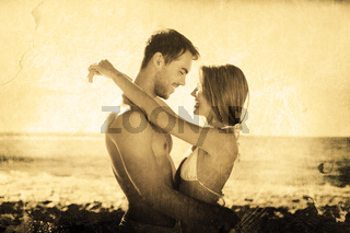 Composite image of sexy couple embracing