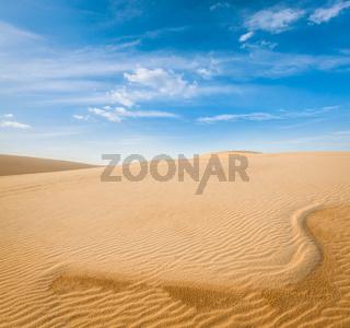 White sand dunes on sunrise