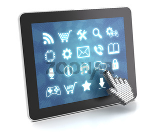 Clicking on a tablet with touchscreen interface, 3d render