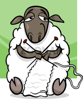 knitting sheep cartoon illustration