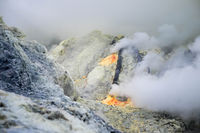 Gas emerging from Ijen crater