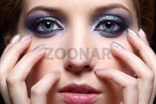 Shining woman face makeup