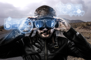 speed blue light effects in googles biker with black leather jacket and old glasses