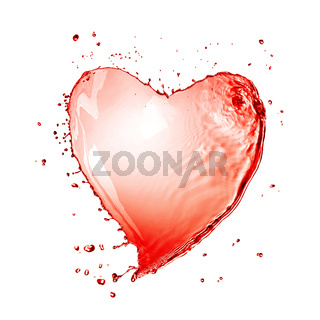 Heart from red wine splash isolated on white